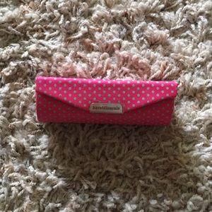 Pink polka dot lipstick case with mirror
